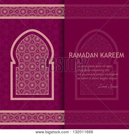 Ramadan Kareem Background. Islamic Arabic window. Greeting card. Vector illustration.