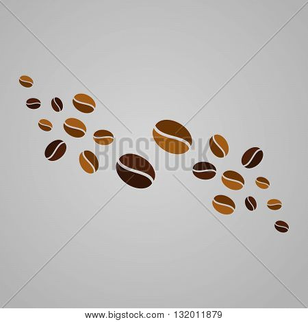 Abstract beans coffee background. Vector template elements. Beans symbol
