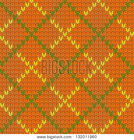 Knitted diamond shape seamless pattern in green and orange, vector background