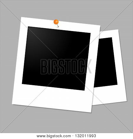 Isolated vector on grey background. Old photo frame.Photo in paper.