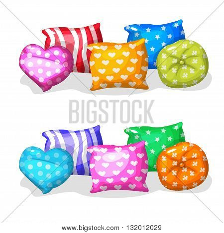 pillows in different colors and shapes in vector