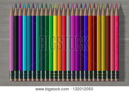 Set of vibrant colorful pencils. 3d render.