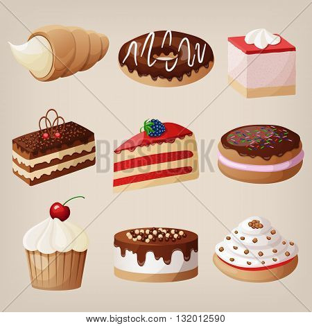 Vector set of cakes, cookies, donuts, pies.