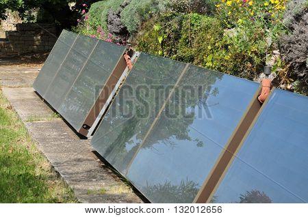 Le Castellet France - april 20 2016 : solar panels in a garden