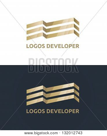 Vector gold logo. Sign of the construction of a modern business center. Luxury office in the city center