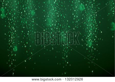 Green abstract background with random digital numbers. Virtual matrix illustration. Green symbols in VR.