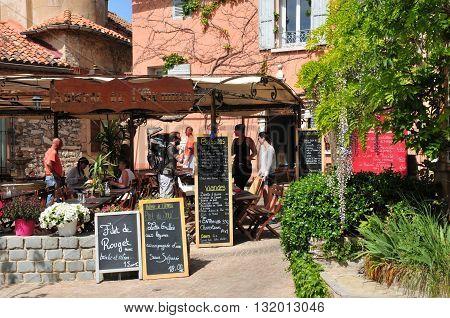 Le Castellet France - april 20 2016 : restaurant in the picturesque old village village in spring