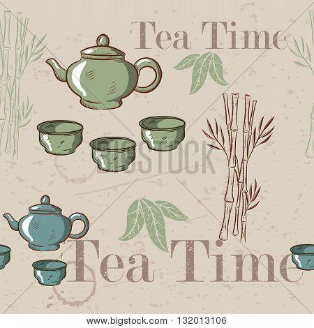 Tea time vintage seamless background. Retro kettle seamless pattern.