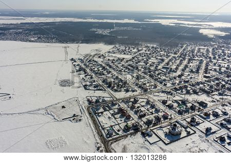 Tyumen, Russia - March 10, 2016: Aerial view onto Ozhogino settlement