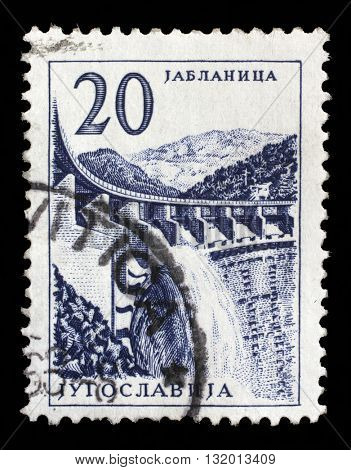 ZAGREB, CROATIA - JUNE 21: Stamp printed in Yugoslavia shows a Hydroelectric works, Jablanica, from series