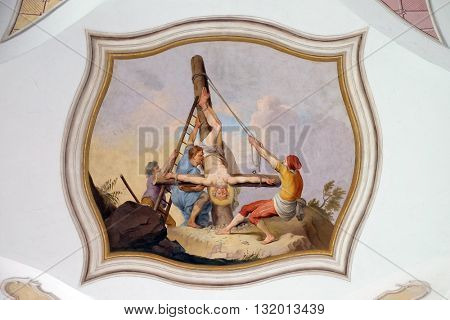 URSBERG, GERMANY - JUNE 09: Scenes from the life of St. Peter, the frescoes on the ceiling of the monastery church of St. John in Ursberg, Germany on June 09, 2015.