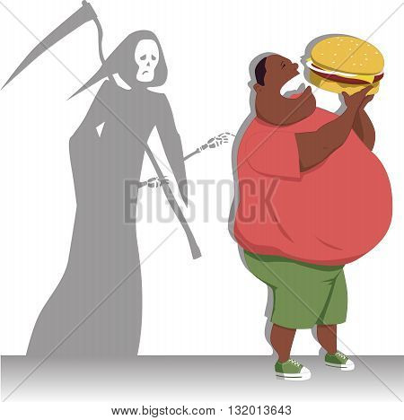 Grim Reaper tags an overweight black man eating a hamburger, vector illustration