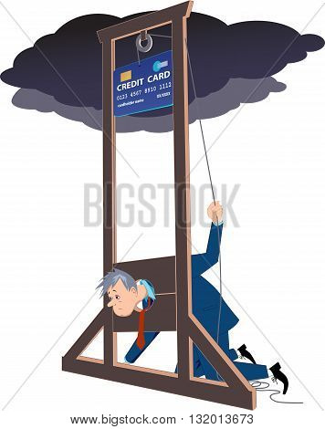 Credit card guillotine. Depressed man lying in a guillotine and releasing a blade in a form of giant credit card