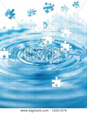 Water splash with puzzle effect