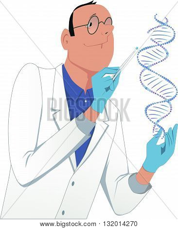 Genetic engineering. A man in a lab coat modifying a DNA molecule, vector cartoon, isolated on white
