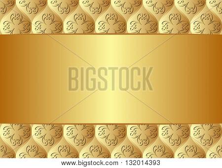 golden background with vintage ornaments - vector illustration