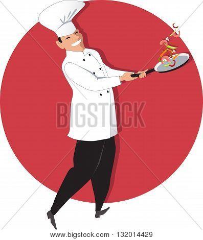 Chef tossing vegetables and shrimp on a skillet, vector illustration