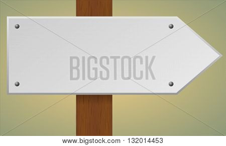 Blank road sign. Wooden pole with blank sign. Vector traffic road sign.