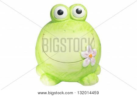 Ceramic green frog on a white background handmade piggy bank