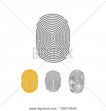 Fingerprint vector icons set abstract thumbprint symbol finger print sign flat illustration design isolated on white background