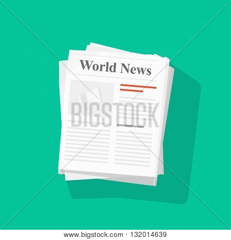Newspaper stack vector illustration news paper pile front page top view abstract text articles and headlines world news daily paper rolled journal heap magazine flat icon design isolated on green