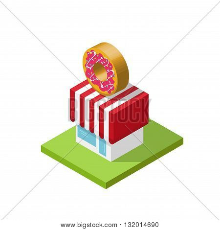 3d isometric store vector illustration donuts shop cartoon simple minimal isometry cubical geometric style bakery cafe building design element isolated on white background