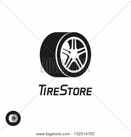 Tire store vector logo template isolated on white background black and white abstract wheel with disk symbol flat simple icon design creative emblem trendy brand sign