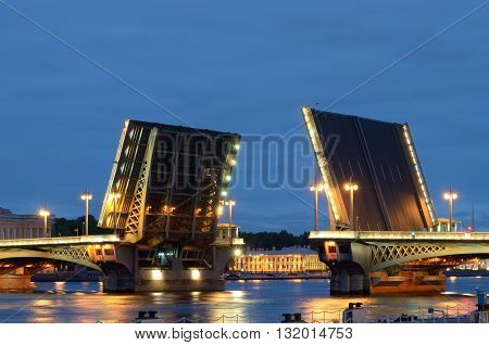 Russia.Saint-Petersburg.During navigation in the city to raise the bridges for the passage of vessels.