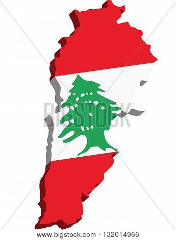 A map of Lebanon 3D on white background