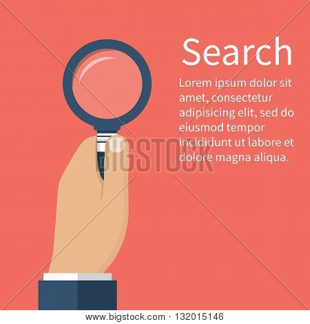 Man businessman holding a magnifying glass in hand. Search Concept. Magnifying glass in flat design vector illustrations. Glass lupe. Use can be as design element for template information study.