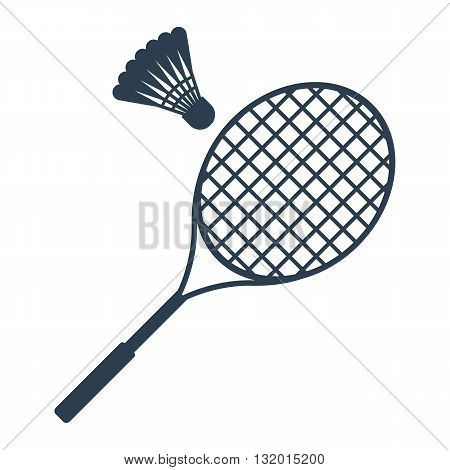 Icon badminton. Badminton racket and shuttlecocks. Icon black on a white background. Sports equipment. Vector illustration.