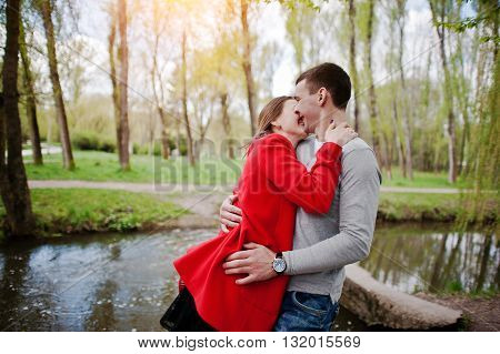 Hugging And Kissed Couple In Love On The Move