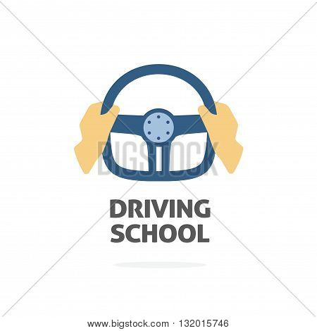 Driving school logo vector template hands holding sport steering wheel icon flat trendy cartoon symbol design isolated on white background sign