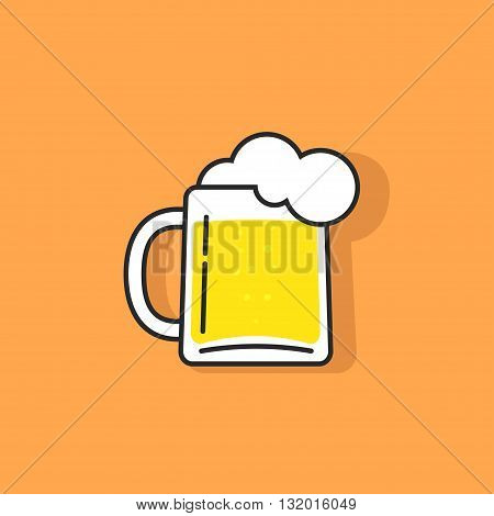 White beer glass with foam vector icon concept of pub logotype beer drink bar symbol abstract pub sing beer mug flat outline linear logo template trendy cartoon design illustration isolated