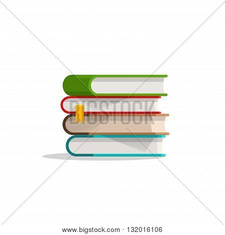 Books stacked books pile with bookmark textbook stack with shadow symbol of education learning modern flat cartoon vector illustration design isolated on white background