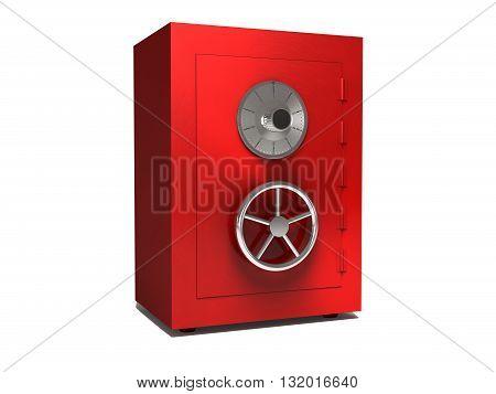3d illustration of steel bank safe over white background. 3D rendering