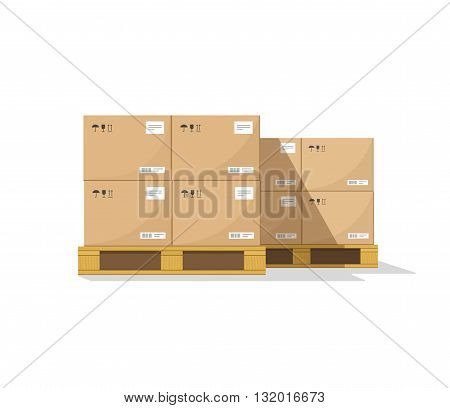 Warehouse parts boxes on wooden pallet vector illustration with shadow cardboard cargo boxes barcode pictograms and abstract text stickers ready for loading flat cartoon design isolated on white