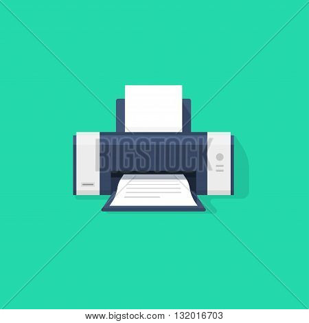 Printer flat vector icon with shadow printer with paper a4 sheet and printed abstract text document out of printer machine illustration isolated on green background