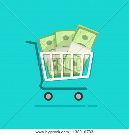Shopping cart full pile of paper money vector cartoon illustration ecommerce trolley with cash stack concept of online internet sale income saving commercial financial flat design isolated