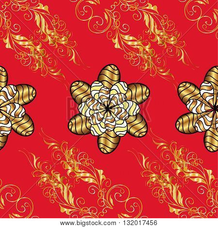 vector seamless texture with golden flowers and vintage elements on red background