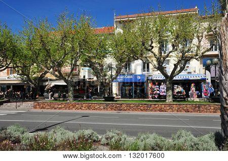 Saint Raphael; France - april 14 2016 : shops in the seaside street