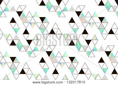 Vector pattern with geometric elements. Triangles with holographic texture. Hipster pattern for fabrics or covers.