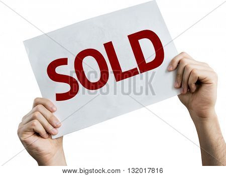 Sold placard isolated on white background
