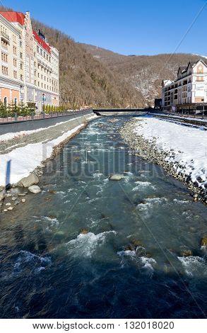 Sochi, Russia - February 10, 2016: Mzymta River. Rosa Khutor Alpine Resort. Krasnaya Polyana, Krasnodar region, Sochi, Russia. Constructed from 2003 to 2011