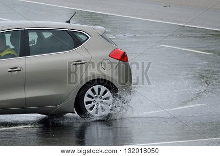 Car will obtain special driving training to skid - closeup