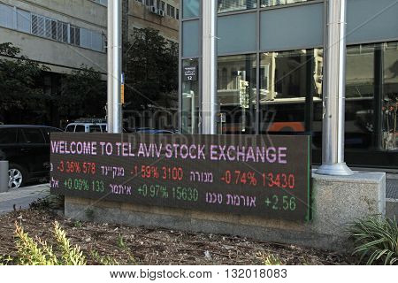 TEL AVIV, ISRAEL - APRIL 3, 2016: Tel Aviv Stock Exchange building with display of Stock market, Tel Aviv, Israel.