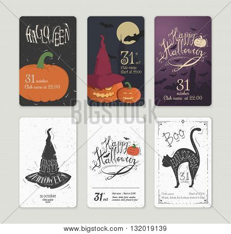 Set of vector posters Halloween. Card with pumpkin and the cut-bats. Illustrations on the theme of the festival invitations.