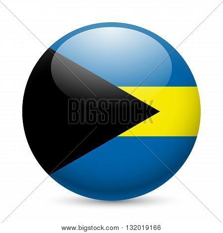 Flag of the Bahamas as round glossy icon. Button with Bahamian flag
