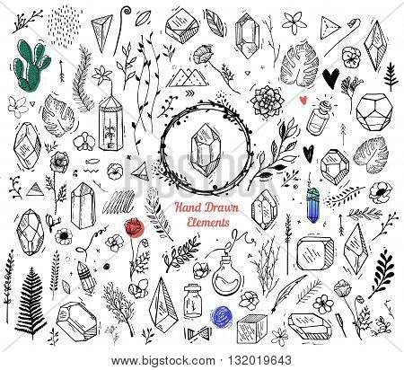 Set of elements for the cover of decoration books cards prints flyers invitation. Flowers plants crystals pendant hipster style. The elements are drawn by hand on a white background
