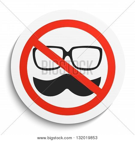 No hipster Prohibition Sign on White Round Plate. No mustache and glasses forbidden symbol. No mask Vector Illustration on white background